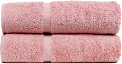 BC BARE COTTON Luxury Hotel & Spa Towel Turkish Cotton Bath Towels - Pink - Dobby Border - Set of 2