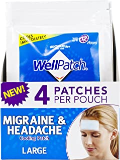 WellPatch Migraine & Headache Cooling Patch - Drug Free, Lasts Up to 12 hours, Safe to Use with Medication - Large Patches (4 Large Patches), Each 4.3 x 2 in