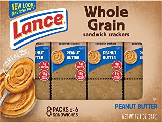 Lance Whole Grain Sandwich Crackers with Peanut Butter, 8 Count (Pack of 14)
