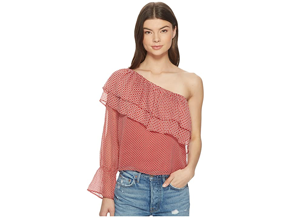 caa075673bd98e Lucky Brand Cold Shoulder Printed Top (Red Multi) Women