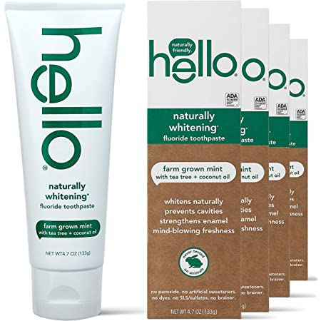 hello Naturally Whitening Toothpaste with Fluoride -Farm Grown with Tea Tree Oil & Coconut Oil (Vegan & SLS Free), Mint, 4 Pack, Farm Grown Mint with Tea Tree Oil & Coconut Oil, 18.8 Oz
