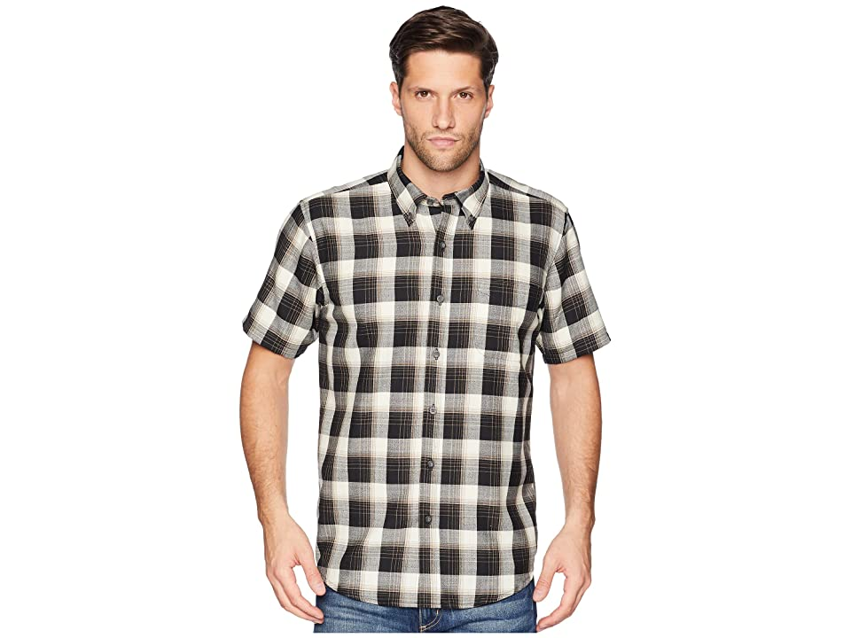Pendleton Linen Short Sleeve Button Down Collar Shirt (Black/Tan Plaid) Men