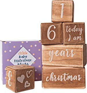 Baby Monthly Milestone Blocks - 6 Blocks, The Most Complete Set, Baby Photography Props for Social Media, Rustic Baby Nursery Decor (Walnut)