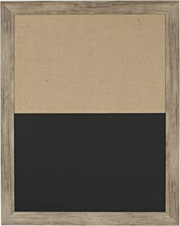 DesignOvation Beatrice Framed Combination Magnetic Chalkboard and Fabric Pinboard