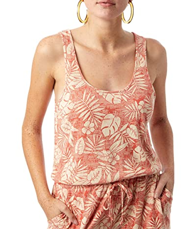 Alternative Lounge Romper in Eco Jersey (Orange Tropical Palm) Women