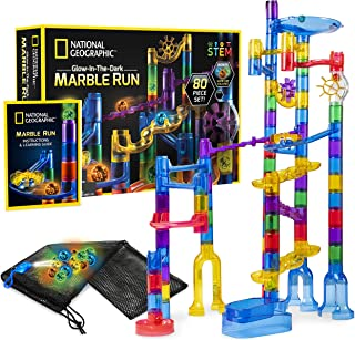 NATIONAL GEOGRAPHIC Glowing Marble Run - 80 Piece Construction Set with 15 Glow-In-The-Dark Glass Marbles, Mesh Storage Bag & Marble Pouch, Great Creative Stem Toy For Girls & Boys