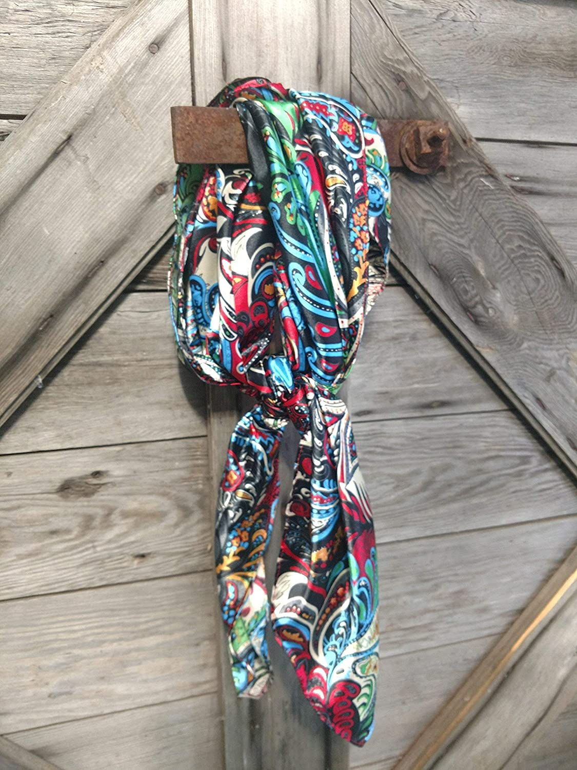 Red Multi Paisley Cowboy Wild Rag Ranking TOP5 Scarf Free shipping anywhere in the nation Neck Western 35 Bandanna