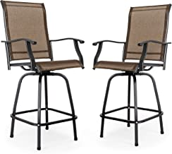 Nuu Garden Outdoor Bar Stools Set of 2, Wrought Iron Patio Furniture Set, 2 Piece Swivel Bar Height Bistro Chairs - Breath...