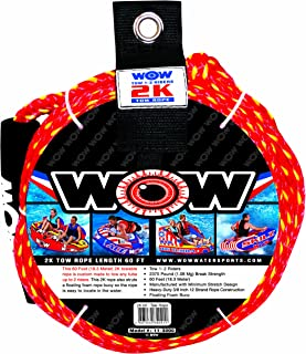 WOW World of Watersports 11-3000 Tow Rope 60 Feet 2375 Pounds Break Strength Floating Foam Buoys