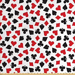 Lunarable Poker Fabric by The Yard, Heart Spades Diamonds and Clubs Pattern in Playing Card Suit Themed Illustration, Decorative Fabric for Upholstery and Home Accents, 3 Yards, White Black