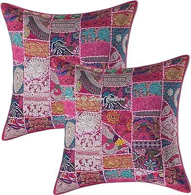 Stylo Culture Ethnique Coton Indien Housses de Coussins Vintage Rose 60x60 cm Abstrait Coussin Decoration Lit Patchwork Décor Lounge 24 x 24 Floral Carré Taies d'oreiller (Lot de 2)