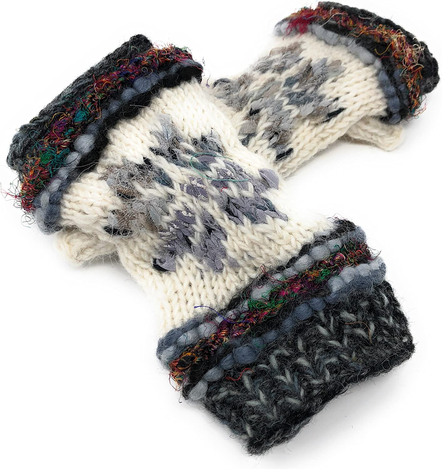 Snowflake Fair Isle Insulated Lined Knit Texting Fingerless Gloves Thumb Hole Mittens