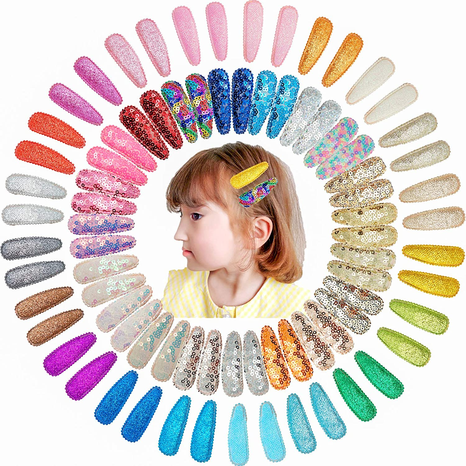 Snap Hair Clips for Girls, JOYOYO 80 Pieces No-Slip Bling Sequins Snap-on Clips for Hair Kids,Tiddkers,Teens and Women