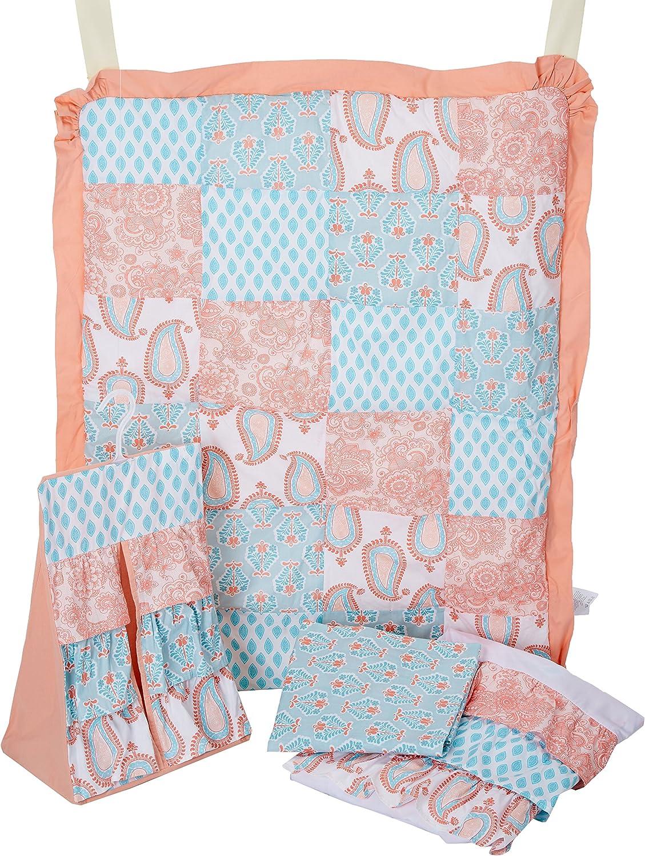 Bacati Sophia Paisley Girls 4 Piece Crib Set with Diaper Stacker, Coral Aqua