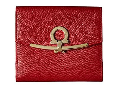 Salvatore Ferragamo Gancini French Fold-Over Wallet (Lipstick) Handbags
