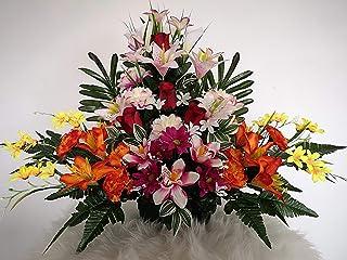 roselynexpress Composition de Fleurs artificielles, lesté Totalement Ciment en jardinière, pour cimetière. Réalisé par nos...
