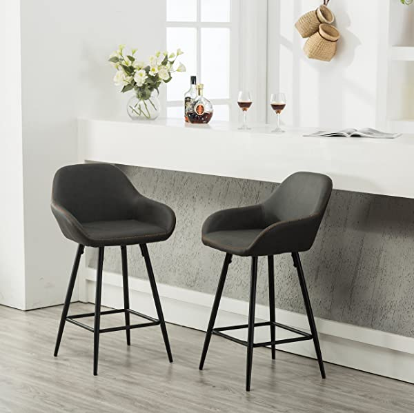 Roundhill Furniture PC281GY Horgen Contemporary Faux Leather Counter Height Dining Chairs Gray Set Of 2