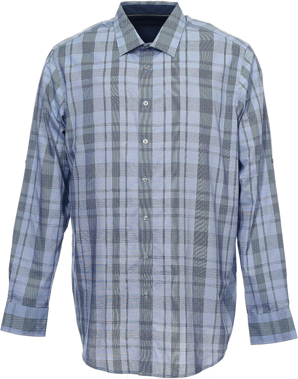Alfani Big&Tall Men's Blue Window Pane Button Down Shirt