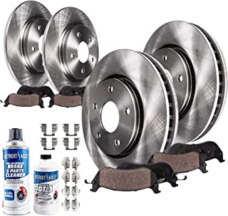 Detroit Axle - All (4) Front and Rear Disc Brake Rotors w/Ceramic Pads w/Hardware Clips & Brake Cleaner & Fluid for 1999 2000 2001 2002 2003 2004 Ford Mustang Base and GT Models Only