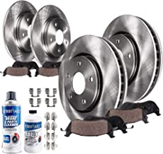 Detroit Axle - Complete FRONT & REAR Brake Rotors & Ceramic Brake Pads w/Hardware, Brake Fluid & Cleaner fits 2005 2006 2007 2008 2009 2010 Honda Odyssey