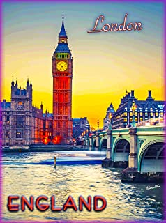 A SLICE IN TIME London at Sunset Big Ben Bell Tower Clock London England Great Britain Travel Advertisement Art Wall Decor Poster. 10 x 13.5 inches