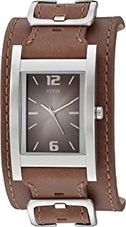 GUESS  Brown Genuine Leather Casual Square Cuff Watch. Color: Brown (Model: U1165G1)