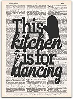 This Kitchen is for Dancing, Funny Kitchen Decor, Vintage Dictionary Page Print