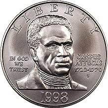 1998 S Black Revolutionary War Patriots Commemorative Silver Dollar Brilliant Uncirculated BU US Mint