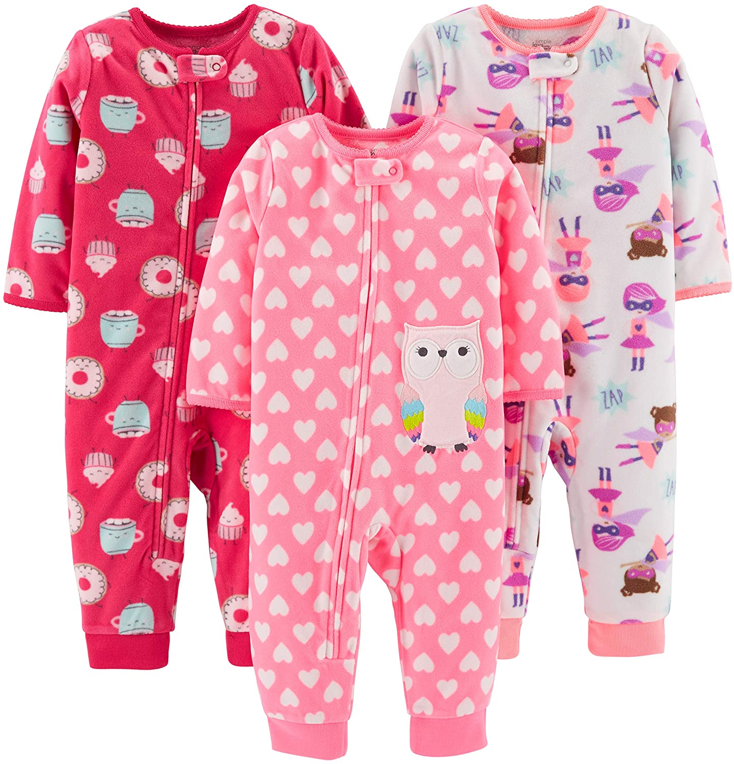 Simple Joys by Carter's Baby and Toddler Girls' 3-Pack Loose Fit Fleece Footless Pajamas