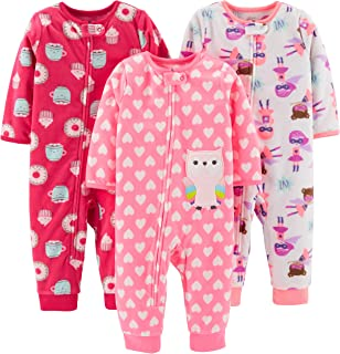 Baby and Toddler Girls' 3-Pack Loose Fit Fleece Footless...