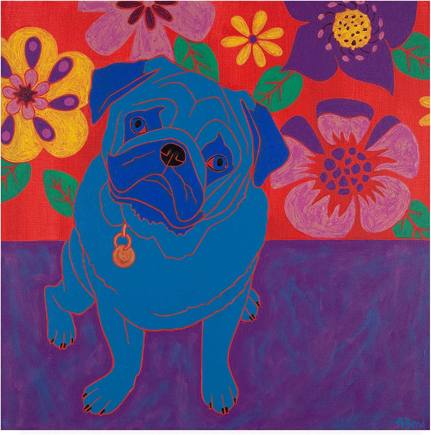 Trademark Fine Art Perspicacious Pug by Angela Bon, 14x14 Multiple