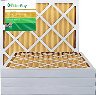 FilterBuy 24x24x2 MERV 11 Pleated AC Furnace Air Filter, (Pack of 4 Filters), 24x24x2 – Gold