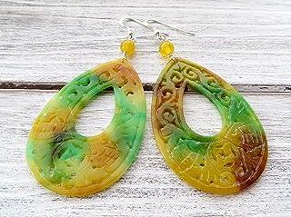 Orecchini con giada incisa verde e arancione, pendenti in argento 925, orecchini grandi a goccia, gioielli orientali, bijo...