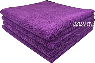 SOFTSPUN Microfiber Cloth - 4 pcs - 40x40 cms - 340 GSM Purple - Thick Lint & Streak-Free Multipurpose Cloths - Automotive Microfibre Towels for Car Bike Cleaning Polishing Washing & Detailing