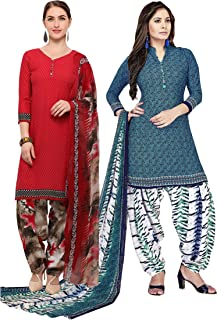 Rajnandini Women's Red and Blue Crepe Printed Unstitched Salwar Suit Material (Combo Of 2) (Free Size)