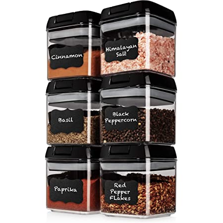 Shazo Airtight 6 Pc Mini Container Set + 6 Spoons, Labels & Marker - Durable Clear Plastic Food Storage Containers with Lids - Kitchen Cabinet Pantry Containers for Spices, Herbs, Coffee, Tea etc