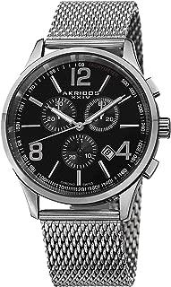 Akribos XXIV Men's Black Dial Stainless Steel Band Watch - AK719SSB