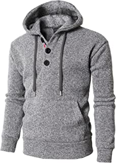 H2H Mens Casual Thermal Pullover Hoodie with Fleece Lining Gray US L/Asia XL (KMOHOL0127)