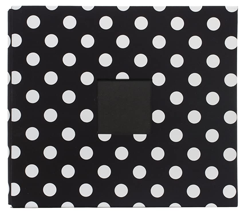 American Crafts Patterned Post Bound Scrapbooking Album, Black with White Polka Dots, 12 by 12-Inch