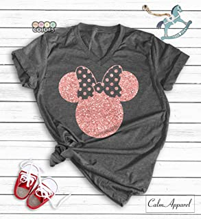 49e3d46fd490 Minnie Mouse Ear T-Shirt, Funny Cute Matching Shirts for Ladies, Girls  Summer