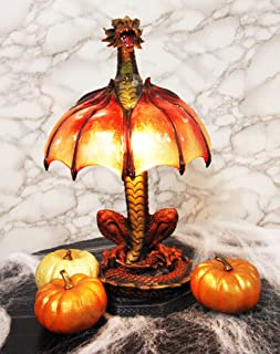 Ebros Altar Drake Red Ember Dragon Building Fire with Its Wings Side Table Lamp Statue 16.5