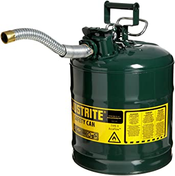 """Justrite 7250430 AccuFlow 5 Gallon, 11.75"""" OD x 17.50"""" H Galvanized Steel Type II Green Safety Can With 1"""" Flexible Spout: image"""