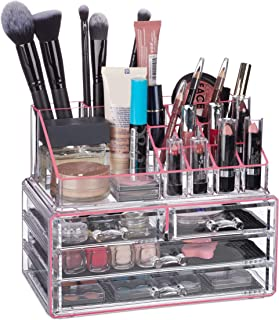 Relaxdays 10023130_1015 Organisateur cosmétiques 2 Parties boîte Rangement Maquillage Make up 12 Porte-Crayons, Rose rayé,...