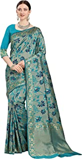 Fashion Basket Women's Turquoise Jacquard Silk Blend Saree with Blouse Pieces