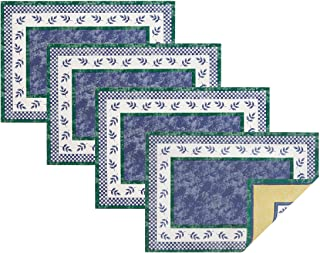 """Villeroy and Boch Leaf and Check Cotton Fabric Reversible Placemat (Set of 4), 14""""x20"""", Multi"""