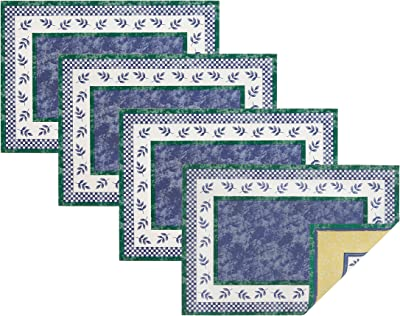 """Villeroy and Boch Switch Three Cotton Fabric Reversible Placemat (Set of 4), 14""""x20"""", Multi"""