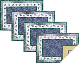 Villeroy and Boch Leaf and Check Cotton Fabric Reversible Placemat (Set of 4), 14