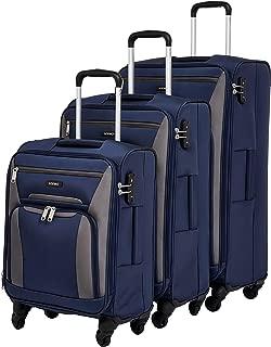 Amazon Brand - Solimo Softsided Suitcase Set with Wheels and TSA Lock (78 cm + 68.5 cm + 56.5 cm), Blue