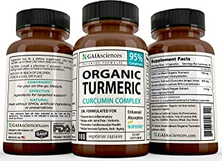 GAIA Sciences Turmeric Curcumin Bioperine 180ct 2100mg 95% Standardized Best Absorption Black Pepper Extract, Anti-Inflammatory, Joint Pain Relief, Immune System Liver Detox Booster, Organic Capsules