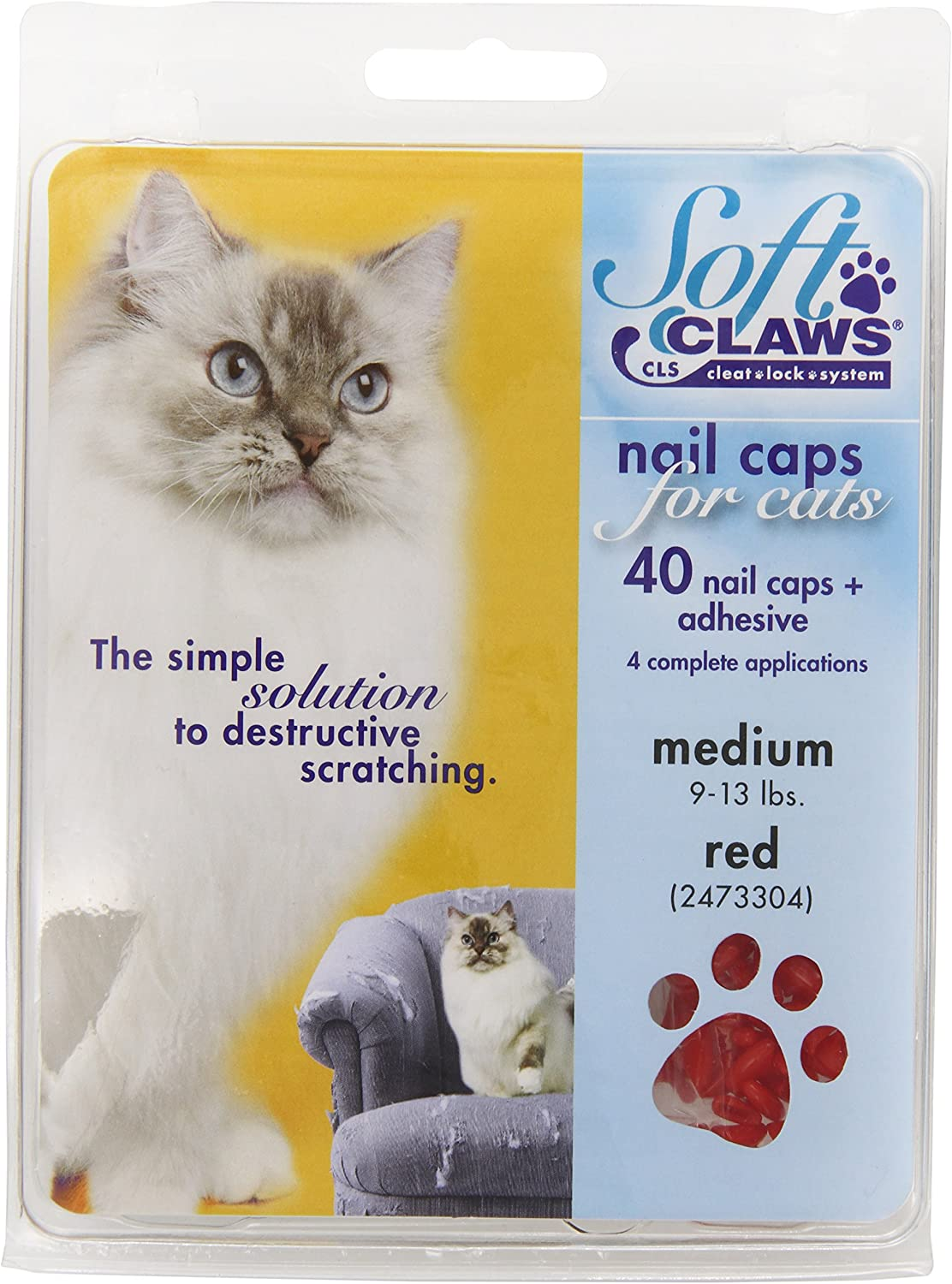 Soft Claws for Cats - CLS (Cleat Lock System), Size Medium, Color Red : Pet Nail Clippers : Pet Supplies